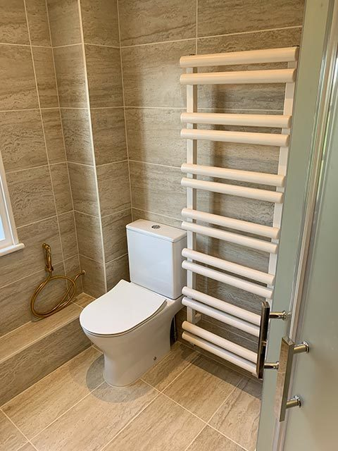 A new bathroom with radiator
